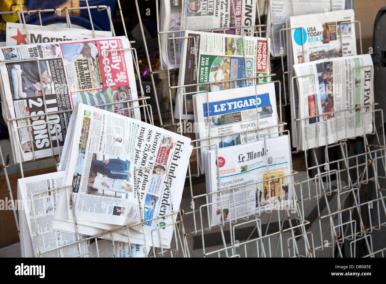 Newspaper Titles on Rack in London UK - Stock Image