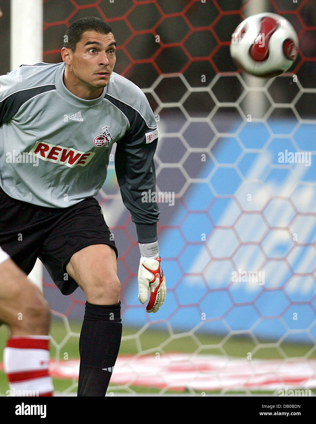 Cologne's goalkeeper Colombian Faryd Mondragon focusses the ball during the soccer friendly 1st FC Cologne vs FC Stock Photo