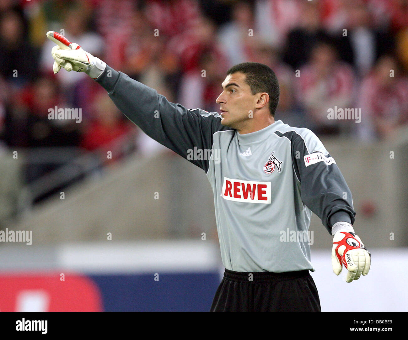 Cologne's goalkeeper Colombian Faryd Mondragon gives directions during the soccer friendly 1st FC Cologne vs - Stock Image