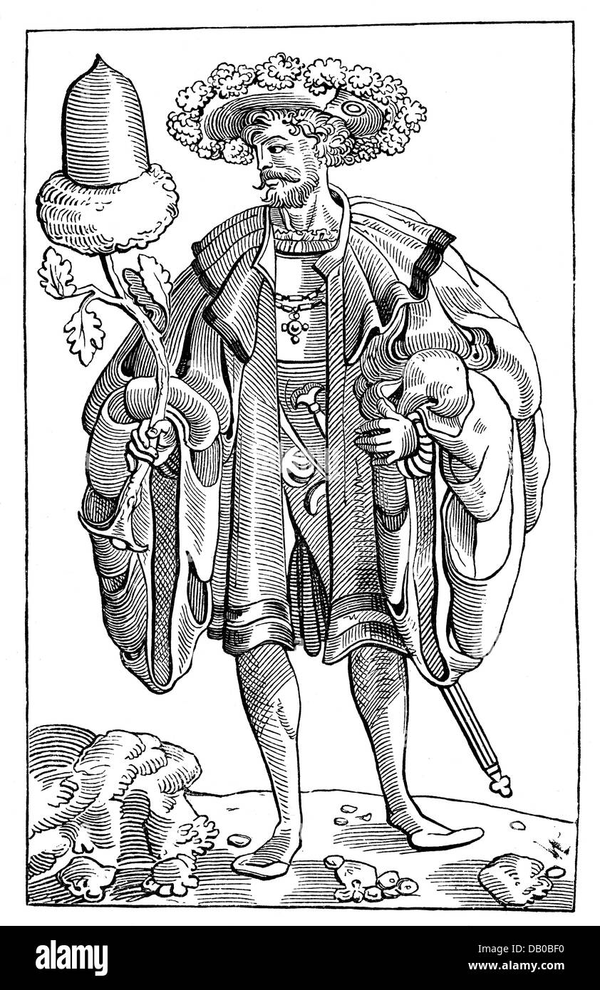 game, cards, playing card, German suit, king of Acorns, 16th century, wood engraving, graphics section, Imperial - Stock Image