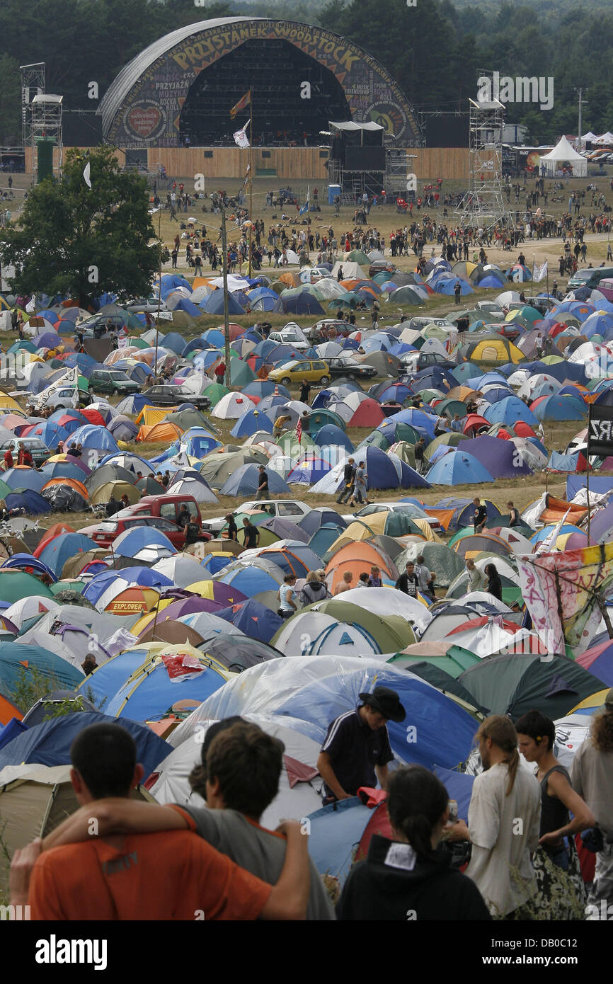 View over the campsite at Woodstock Festival in Kostrzyn, Poland, 03 August 2007. Organisers expect more than 300,000 - Stock Image