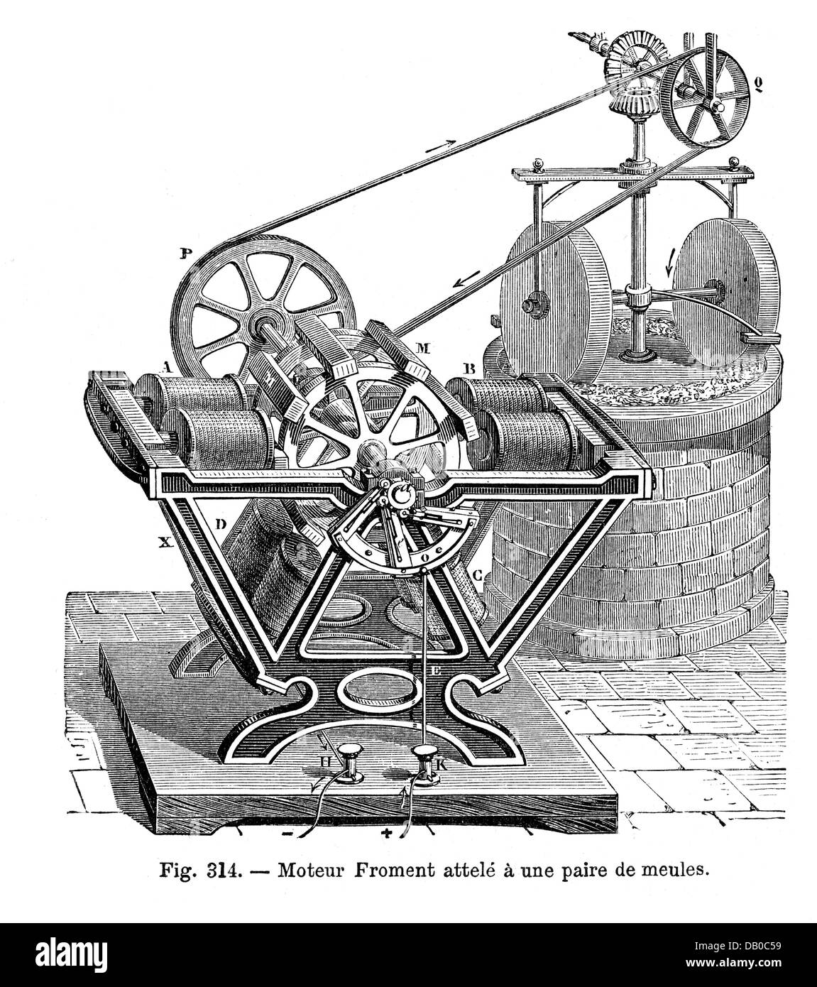 energy, electricity, electric motor, by Paul-Gustave Froment, (1815 - 1865), driving a mill, wood engraving, 19th century, 19th century, design, engine, motor, engines, motors, electric power, electric drive, electrical impulse, historic, historical, Additional-Rights-Clearences-Not Available Stock Photo