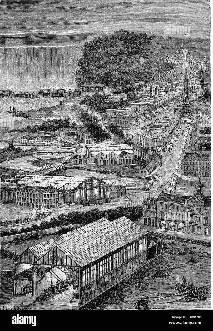 energy, electricity, model city, supplied with electric power generated from waterfall, late 19th century, 19th - Stock Image