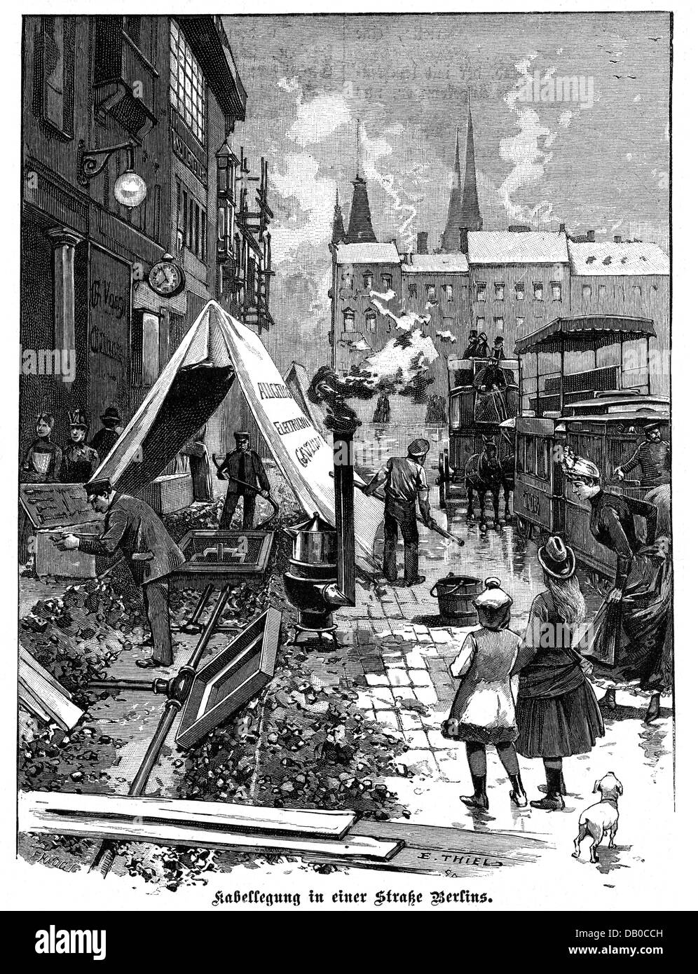 energy, gas, laying of gas lines in Berlin, wood engraving, by E. Thiel, late 19th century, 19th century, street, - Stock Image