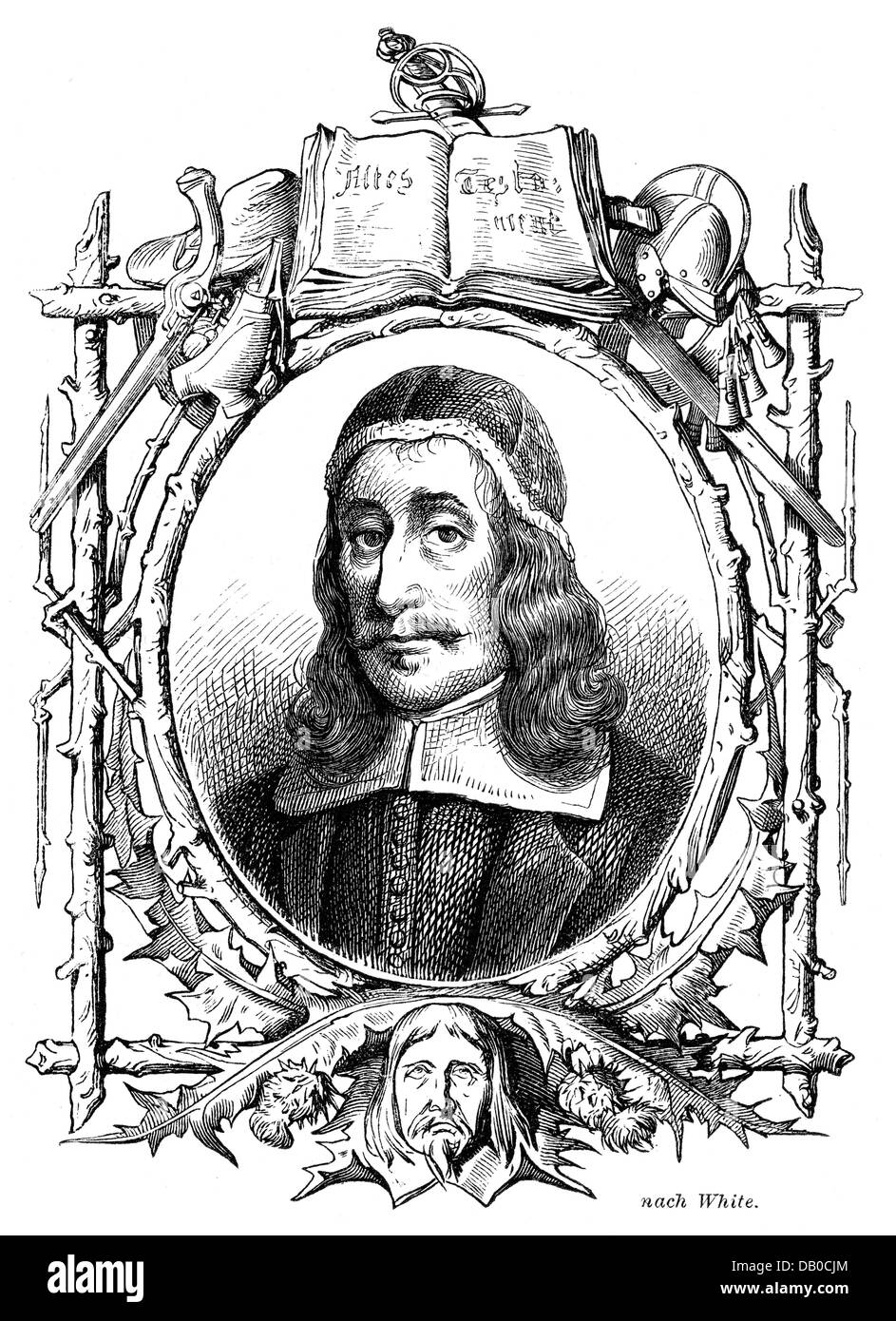 Baxter, Richard, 12.11.1615 - 8.12.1691, English clergyman, portrait, wood engraving, 19th century, Additional-Rights - Stock Image