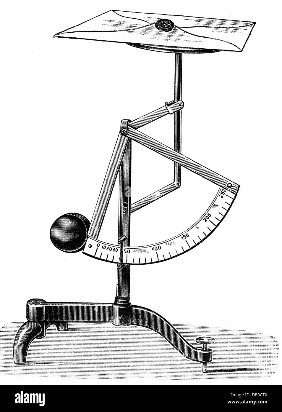 mail, device, letter balance, wood engraving, Germany, late 19th century, scale, scales, letter, letters, weighing, - Stock Image