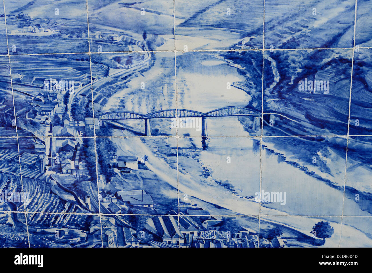 azulejos on wall of railway station Pinhao Douro upper valley Portugal - Stock Image