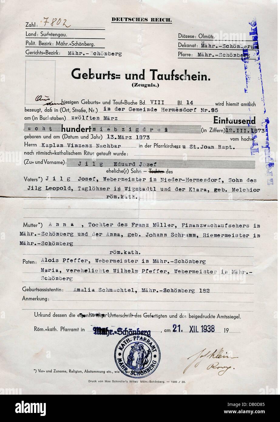 Documents Birth And Baptismal Certificate For Eduard Josef Jilg