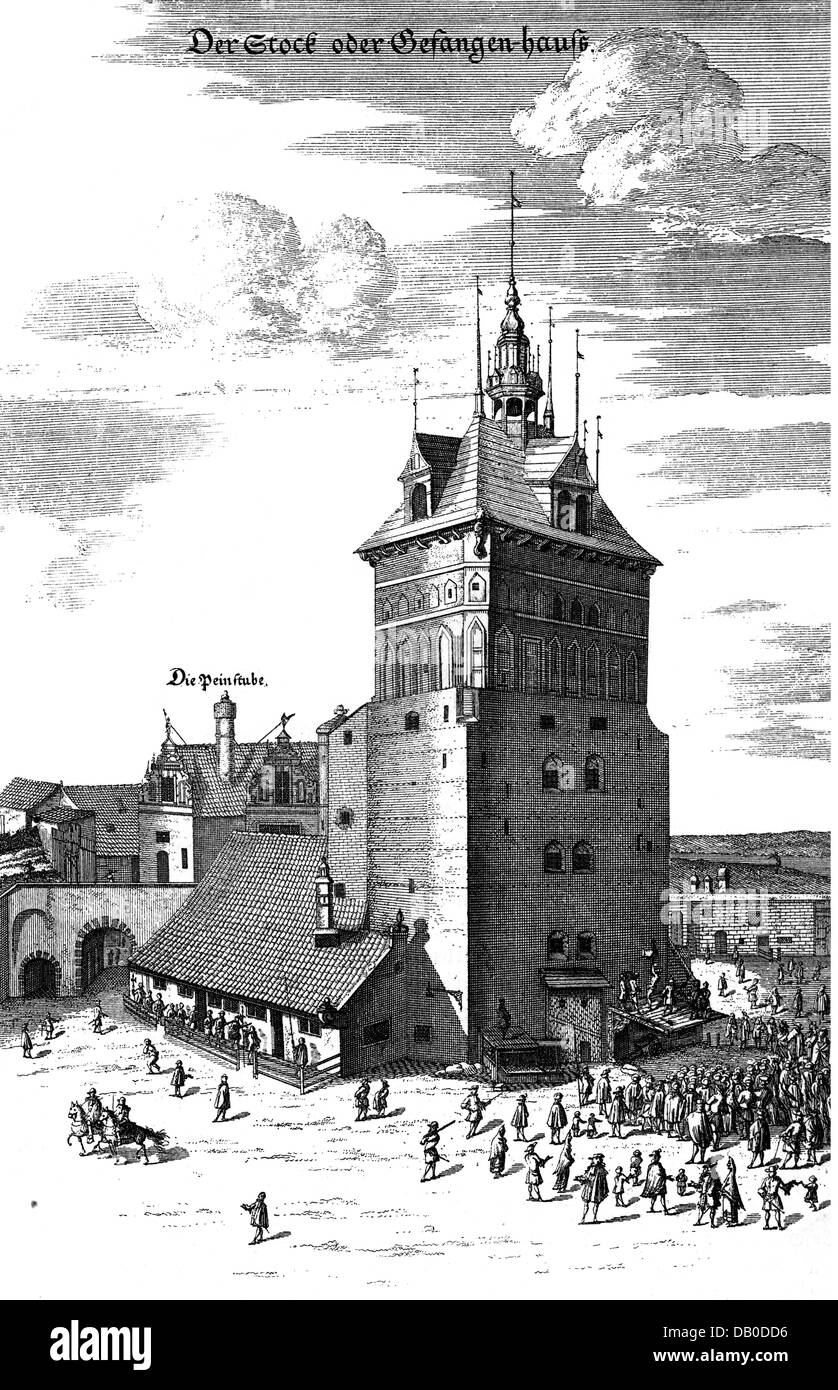 geography / travel, Poland, Gdansk (Gdansk), buildings, prison, public lashing, copper engraving, late 17th century, - Stock Image