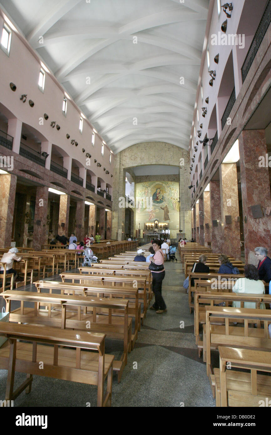 The picture shows the interior of the church at the abbey of San Giovanni Rotondo, where the saint Padre Pio had - Stock Image