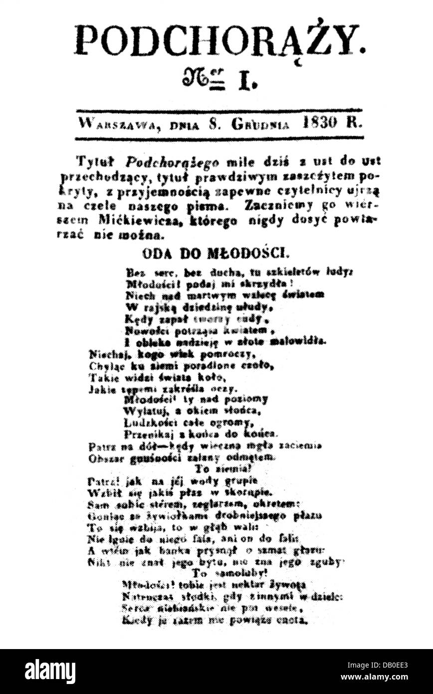 """Polish uprising 1830 - 1831, """"Podchorazy"""", newspaper of the insurgents, number 1, Warsaw, 8.12.1830, ode to the Stock Photo"""