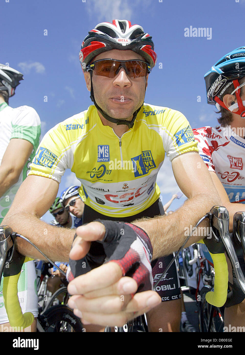 German cyclist Jens Voigt of the Team CSC who is wearing the yellow jersey  of the overall leader is pictured at the start of the sixth stage of the  Germany ... 7f9b1671b