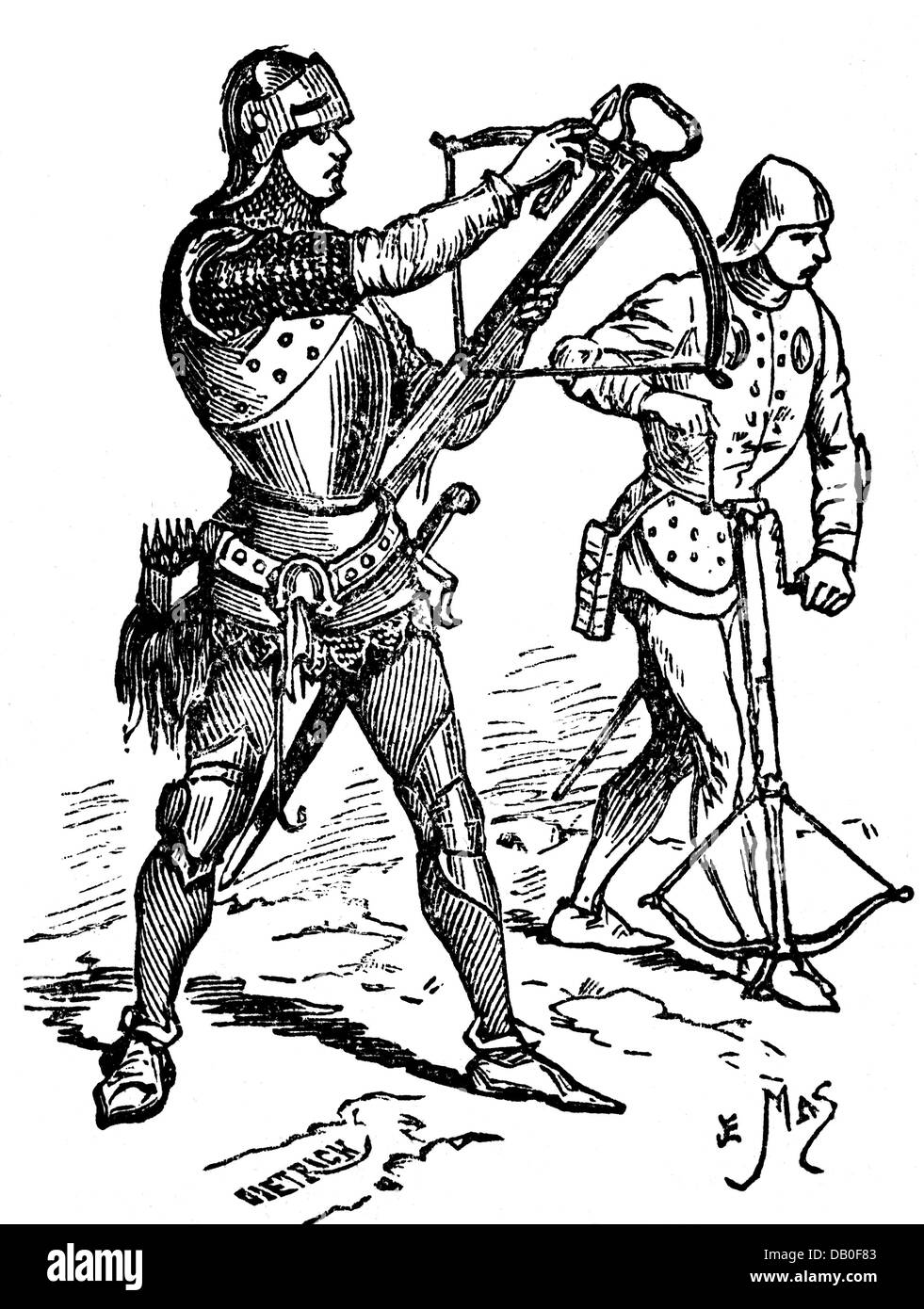 military, Middle Ages, infantry, French crossbowmen, 15th century, spanning of the crossbow, wood engraving, 19th - Stock Image