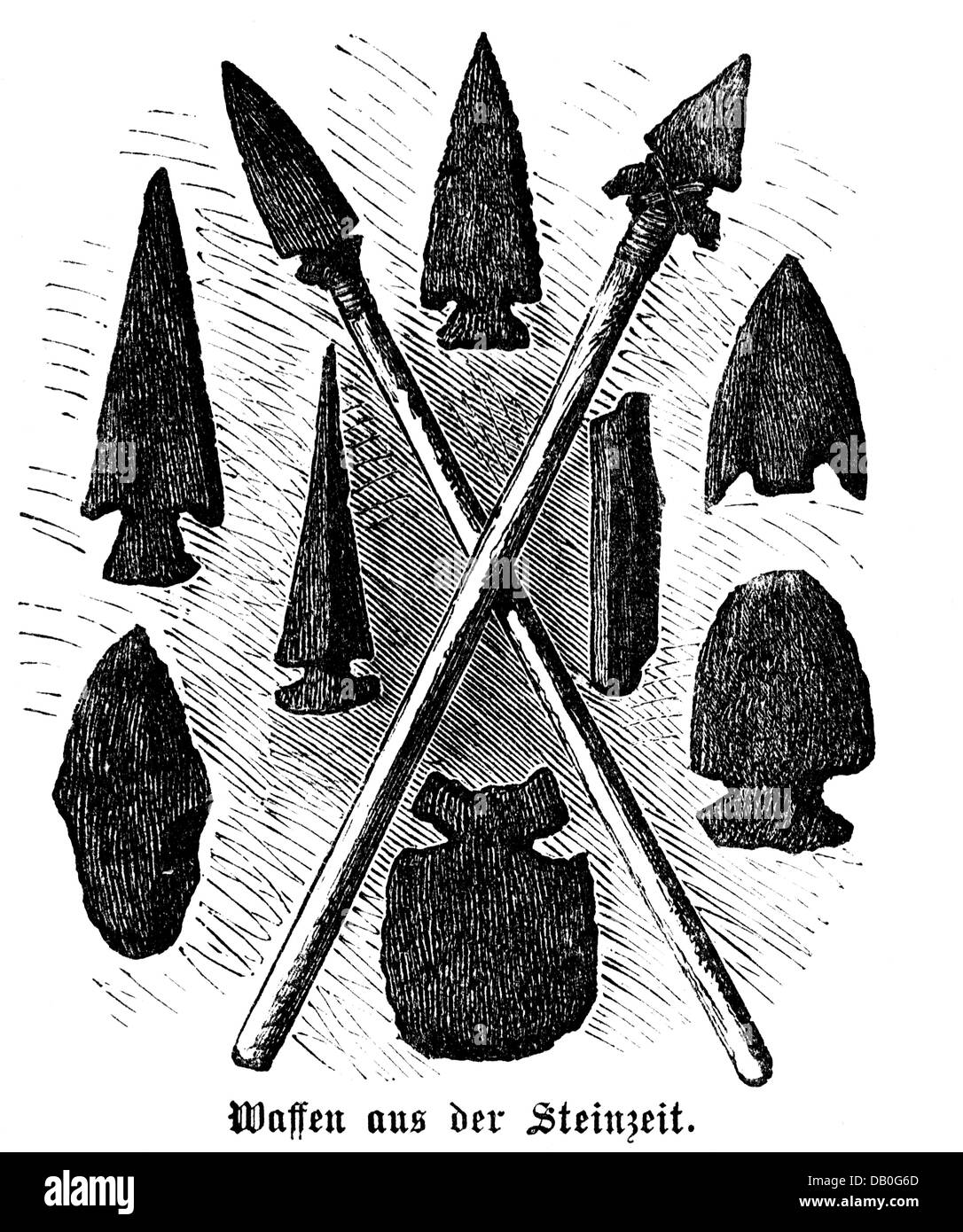 weapons, pole weapon, spears and spearheads from the Stone Age, wood engraving, 1872, spear, spearhead, stone, stones, - Stock Image