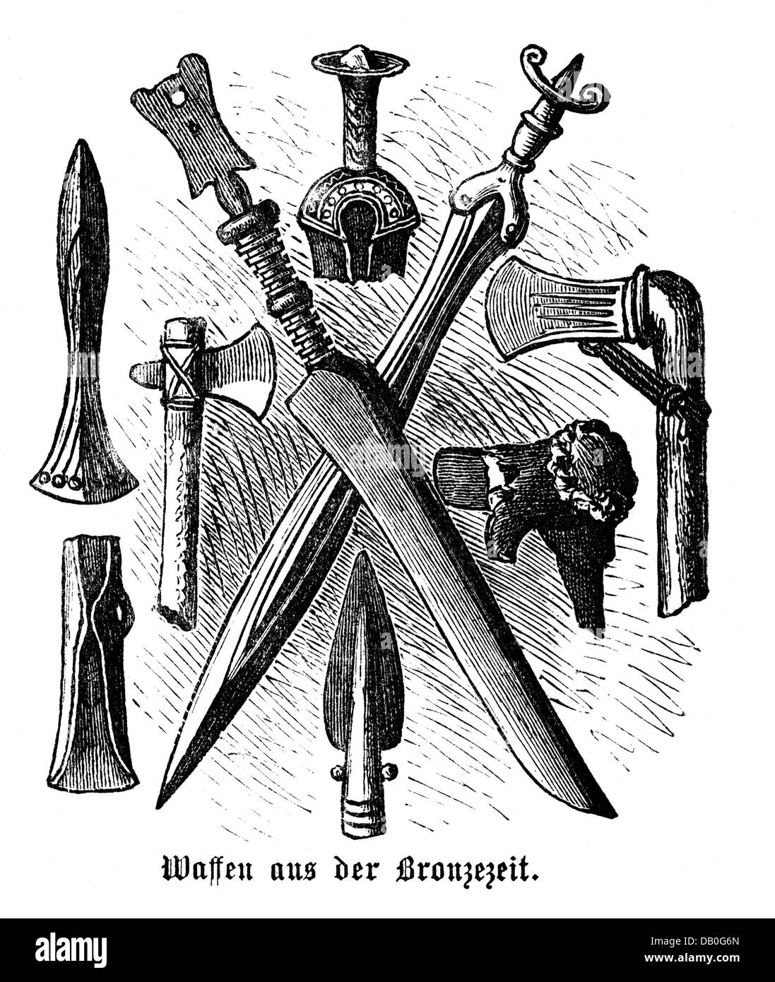 weapons, prehistory, weapons from the Bronze Age, wood engraving, 1872, sword, swords, axe, axes, dagger, daggers, - Stock Image