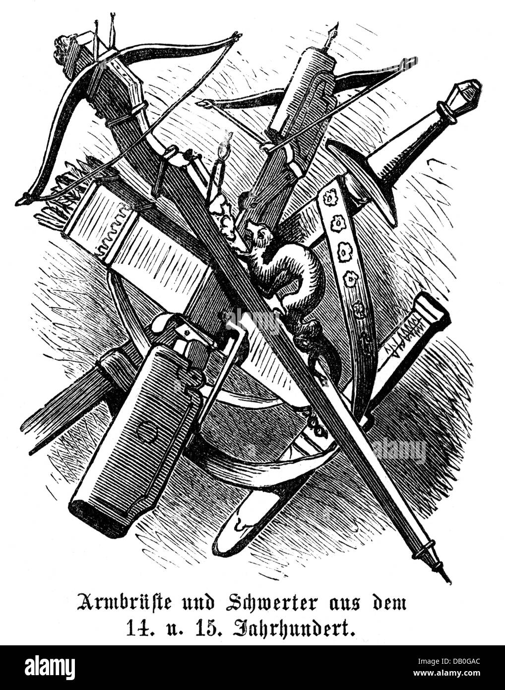 weapons, Middle Ages, crossbows and swords from the 14th and 15th century, wood engraving, 1872, crossbow, sword, - Stock Image