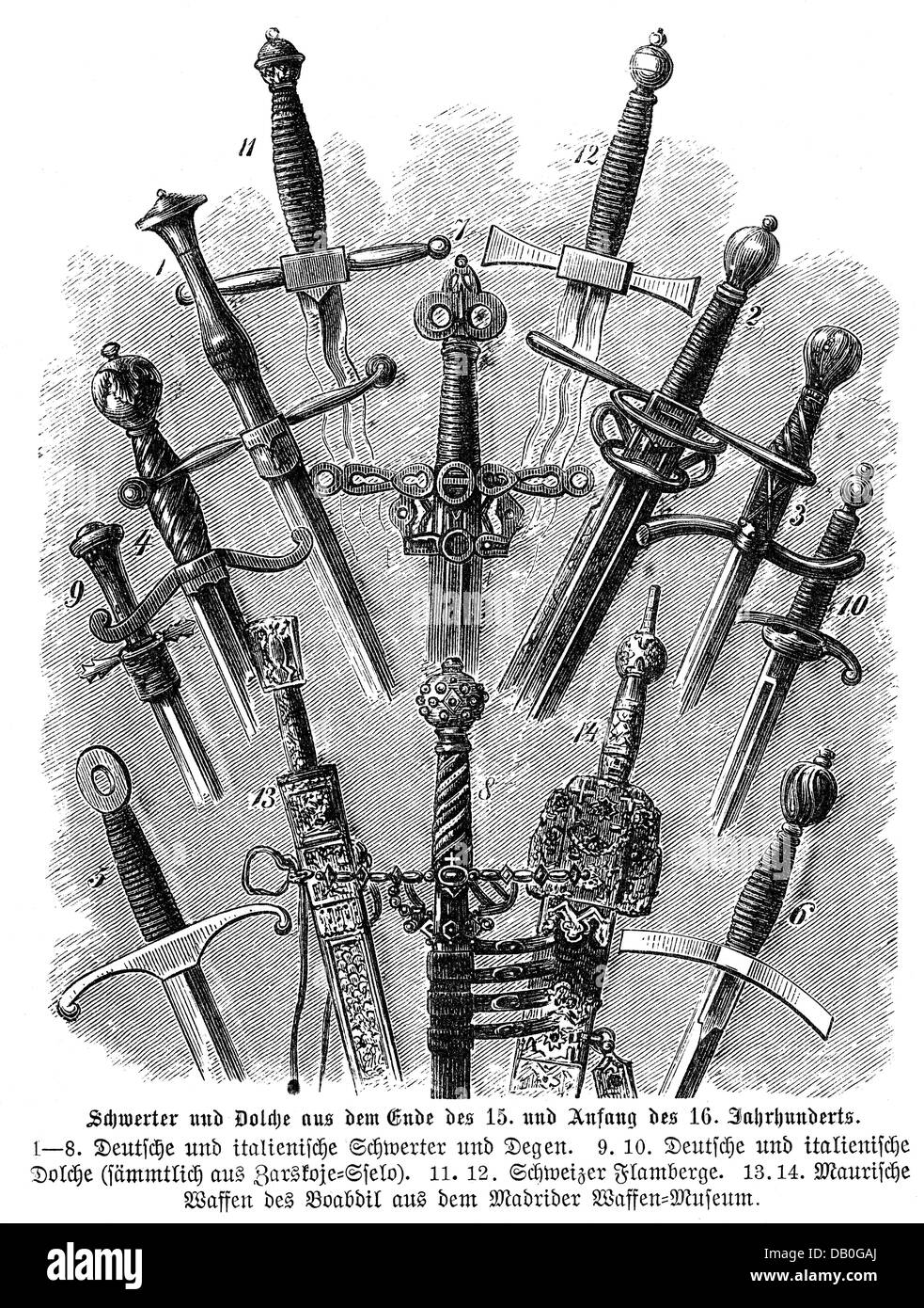 weapons, modern times, swords and daggers, late 14th / early 15th century, 1 - 8: German and Italian sword and rapiers, Stock Photo