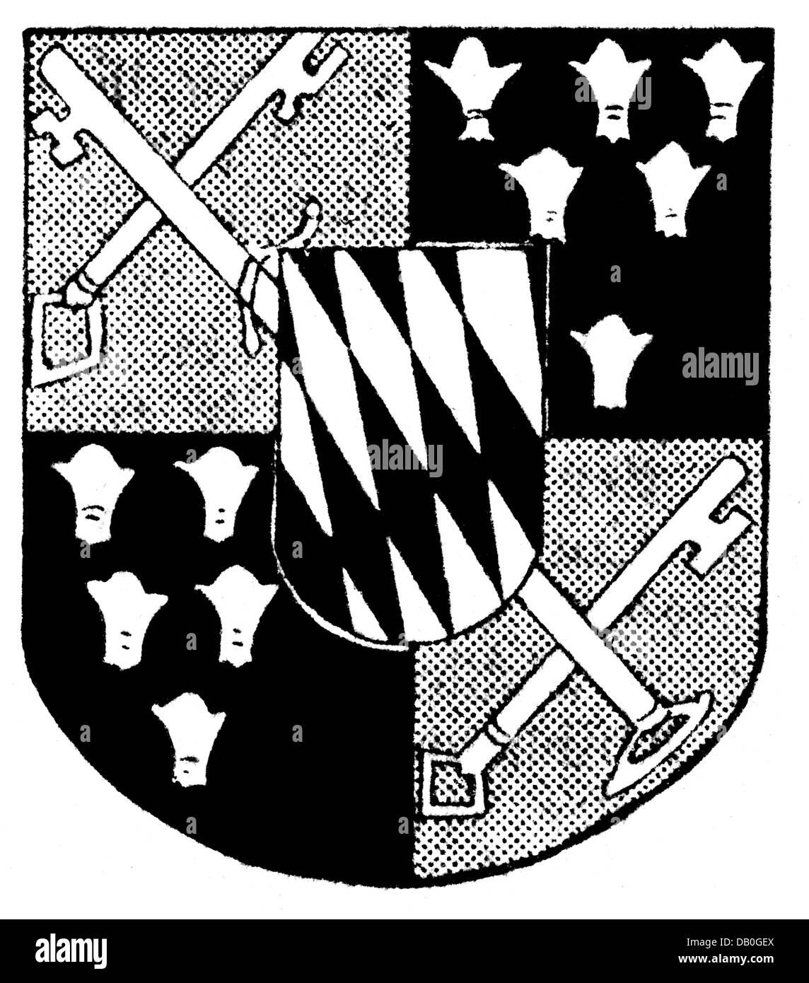 heraldry, coat of arms, Deutschland, city arms, Berchtesgaden, drawing, 20th century, keys, lozenges, Upper Bavaria, - Stock Image