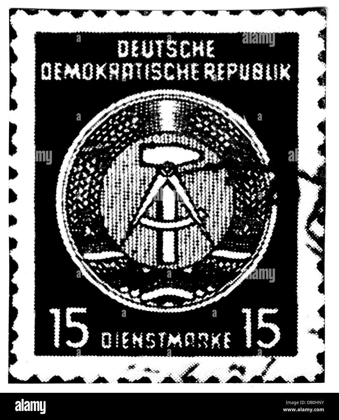 Mail Postage Stamps Germany German Democratic Republic 15 Pfennig Official Stamp