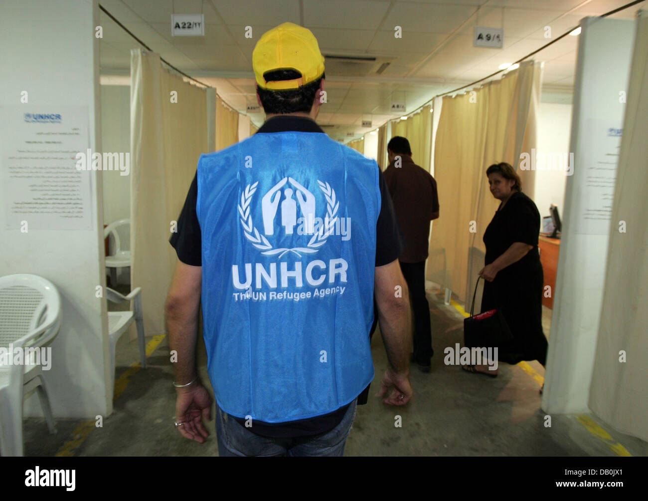 Staff of the UN's refugee agency UNHCR pictured in a registration office for Iraqi refugees in Damascus, Syria, - Stock Image