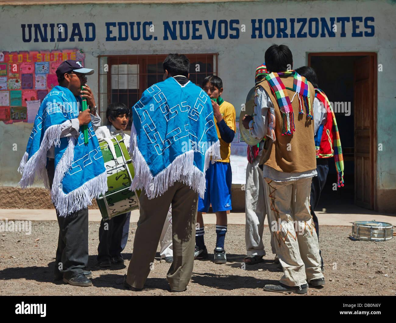 indigenous Quechua musicans in village near San Antonio de Lipez, Andes, Bolivia, South America - Stock Image
