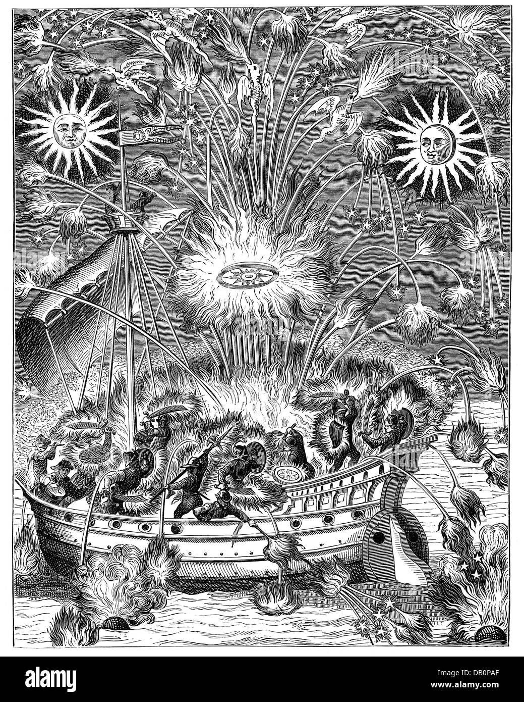 festivities, fireworks, water fireworks, girandole between two suns, imagination of a naval battle, copper engraving, - Stock Image
