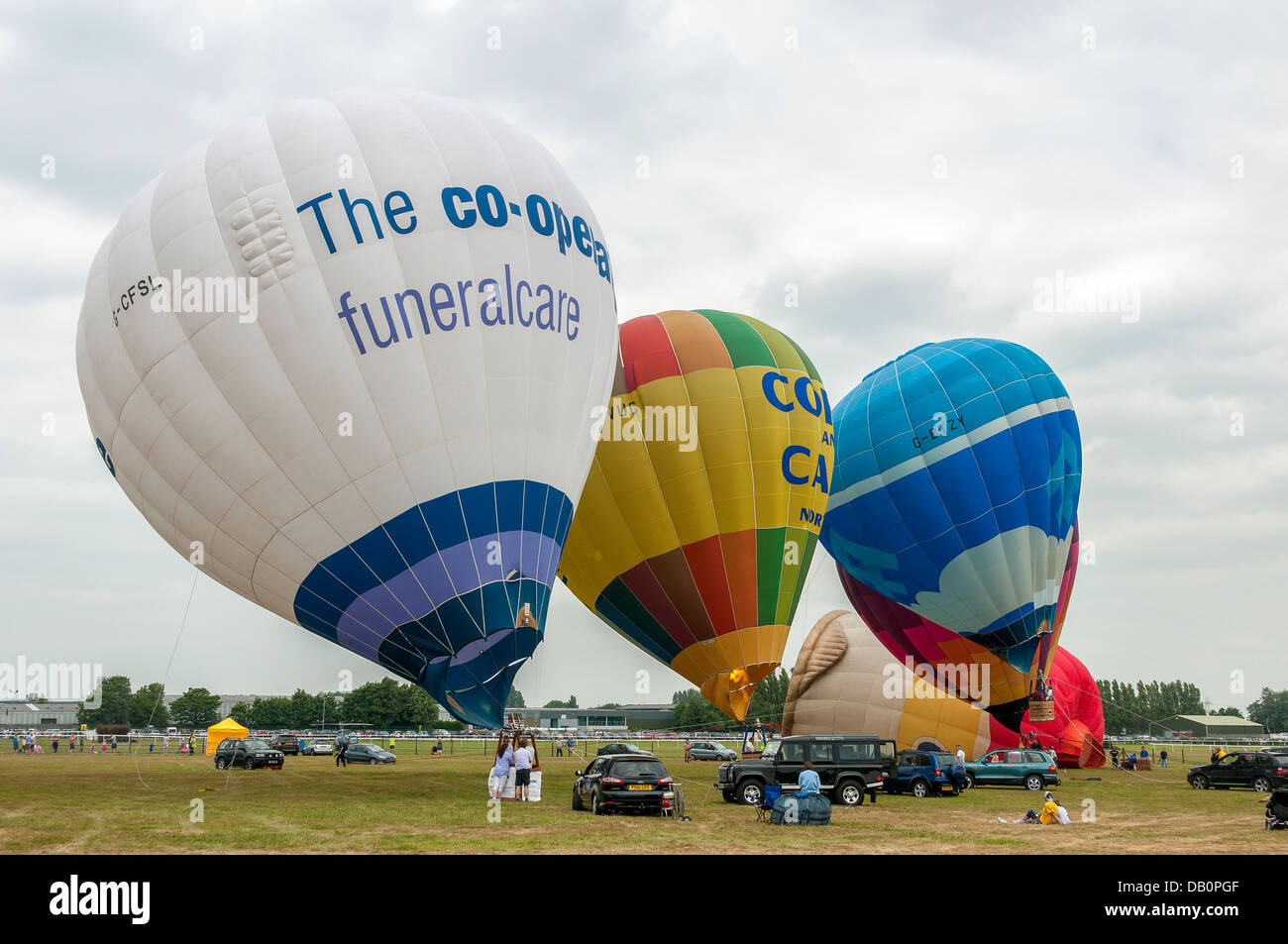 Hot air balloons being inflated. Stock Photo