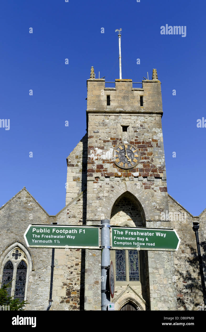 Footpath Signs,All Saints Church Freshwater, Isle of Wight, England, UK, GB. - Stock Image