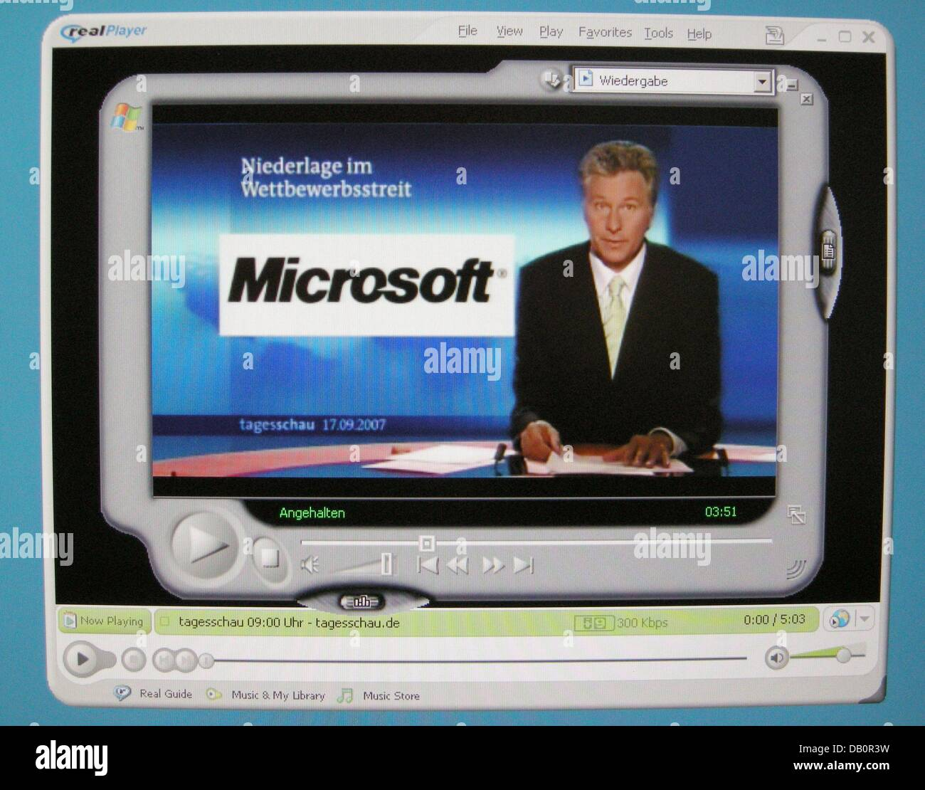 The picture dated 17 September 2007 shows a Realplayer screenshot of public TV station ARD's prime time news - Stock Image