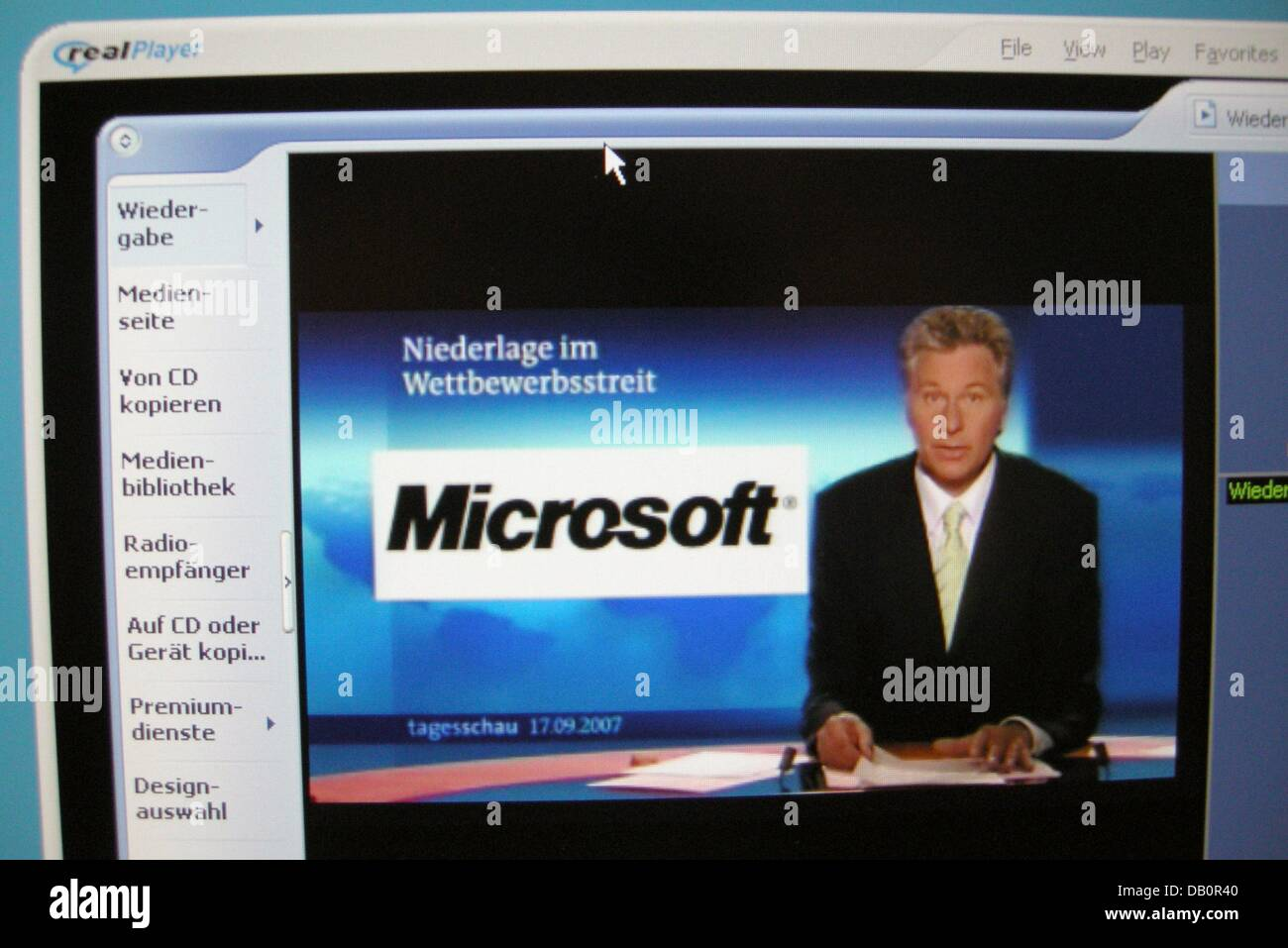 The picture dated 17 September 2007 shows a screenshot of 'realPlayer' showing 'Windows Media Player' - Stock Image