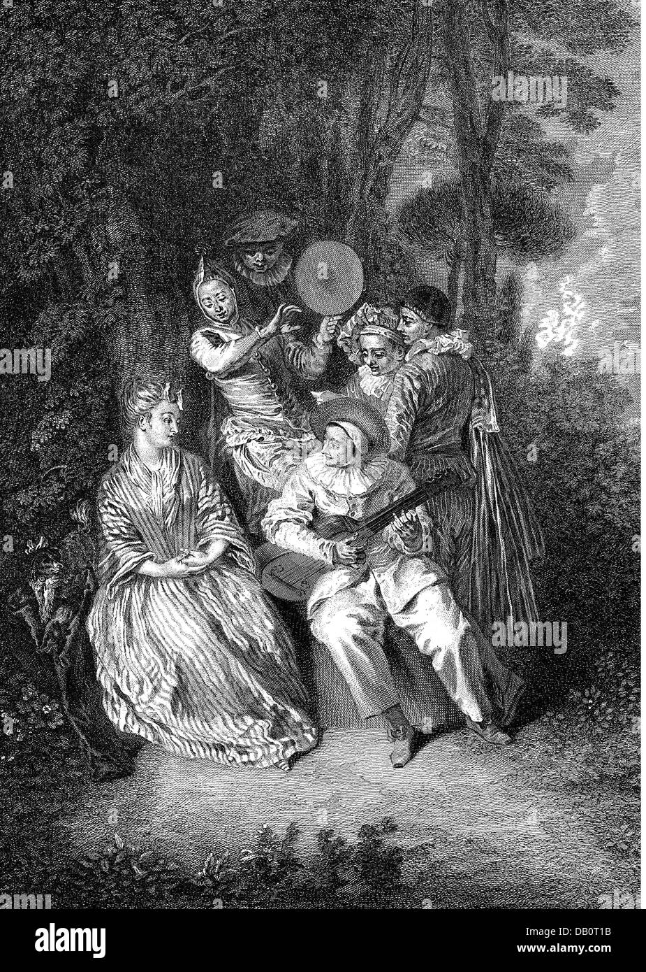 leisure, Italian serenade, after painting, by Antoine Watteau (1684 - 1721), copper engraving, by Gerard Scotin - Stock Image