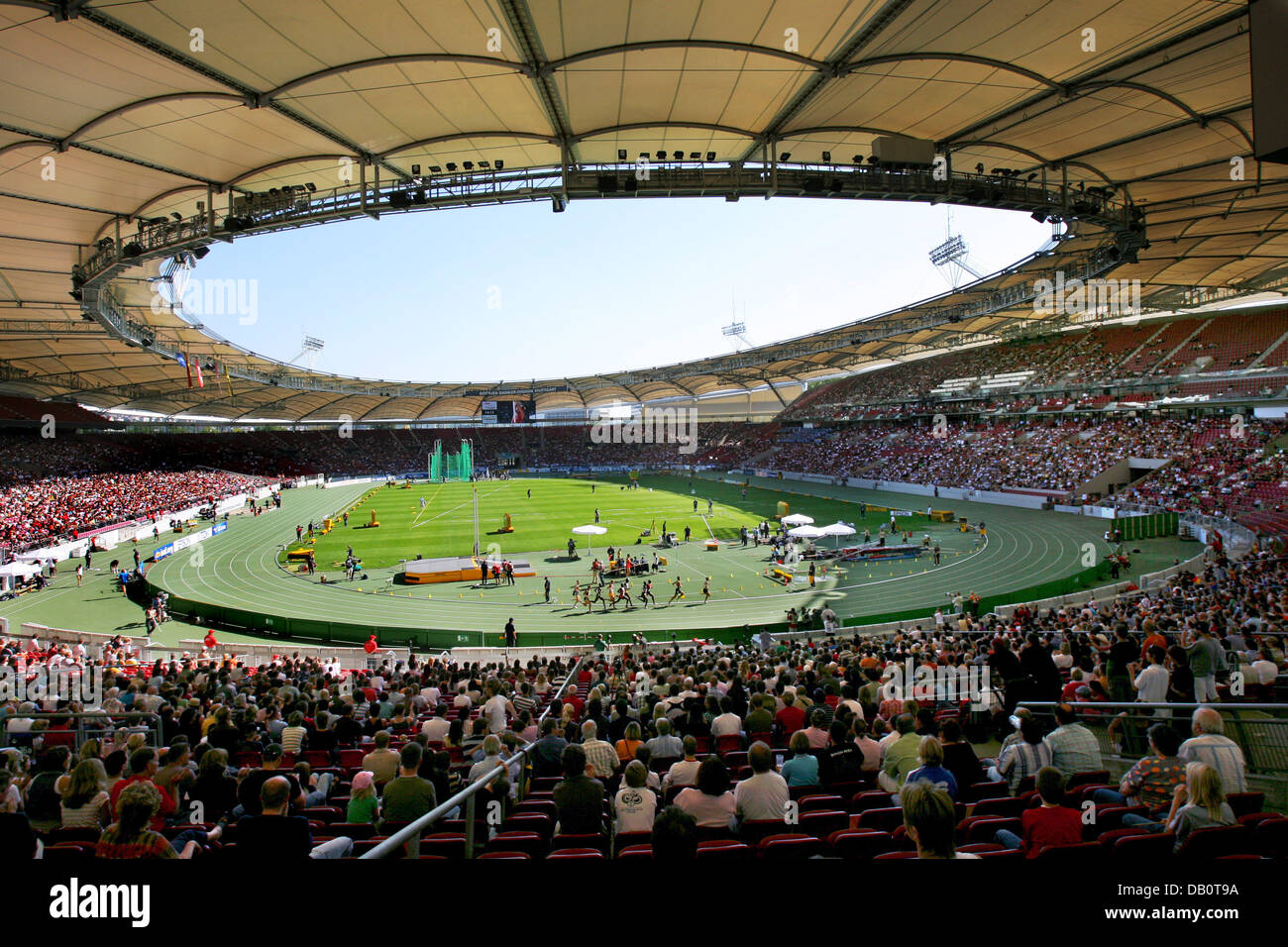 View into the Gottlieb Daimler stadium, venue of the IAAF World Athletics Final in Stuttgart, Germany, 23 September - Stock Image