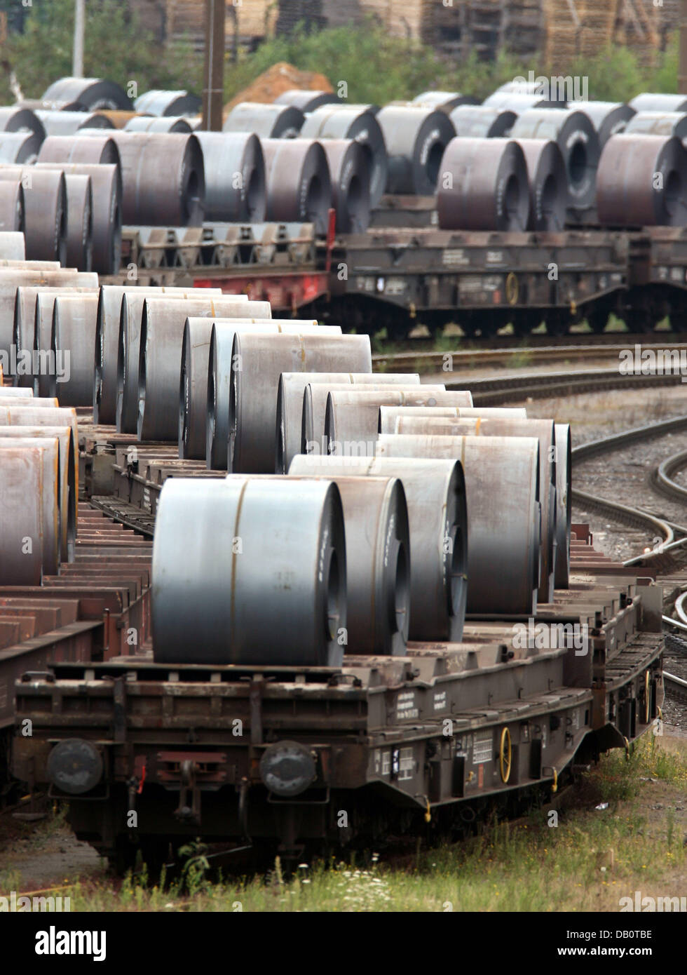 The picture shows waggons with steel coils at the premises of the ThyssenKrupp steelworks in Duisburg-Beeck, Germany, - Stock Image