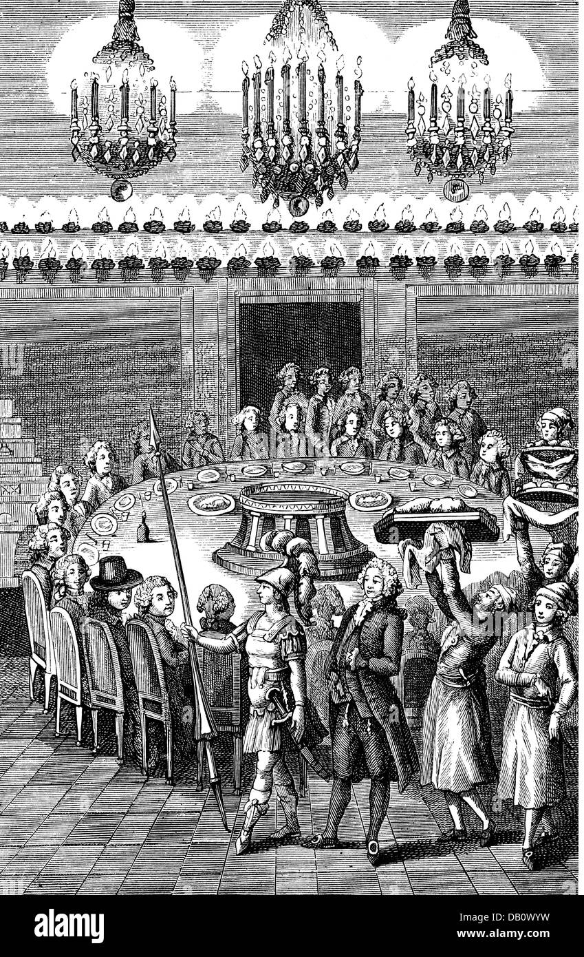 gastronomy, meals, so called funerary feast, organised by Alexandre Balthasar Grimod de la Reyniere (1758 - 1837), - Stock Image