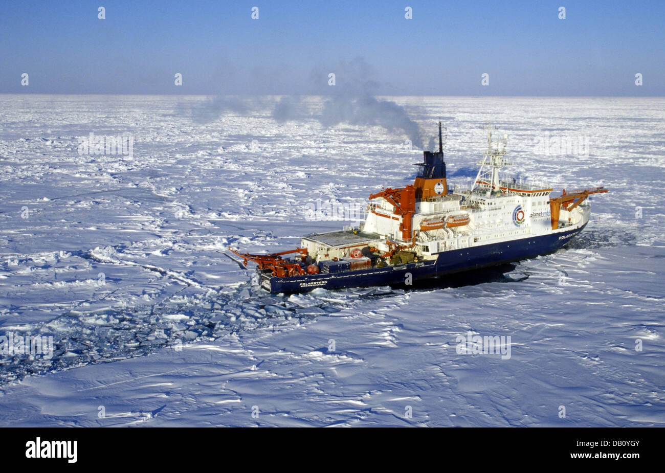 The German research ship 'Polarstern' (meaning pole star) crushes the ice as it works its way through the - Stock Image