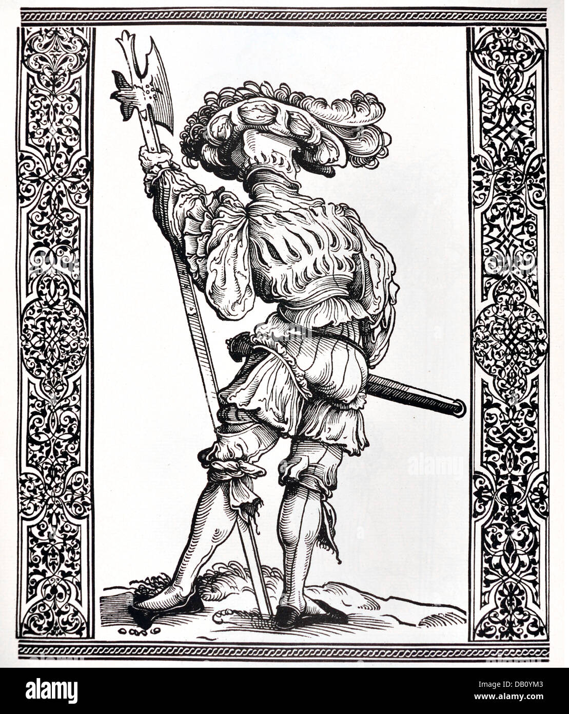 military, lansquenets, lansquenet, 'Augustin Wagenhals' (August Daredevil), full length, standing, woodcut, - Stock Image