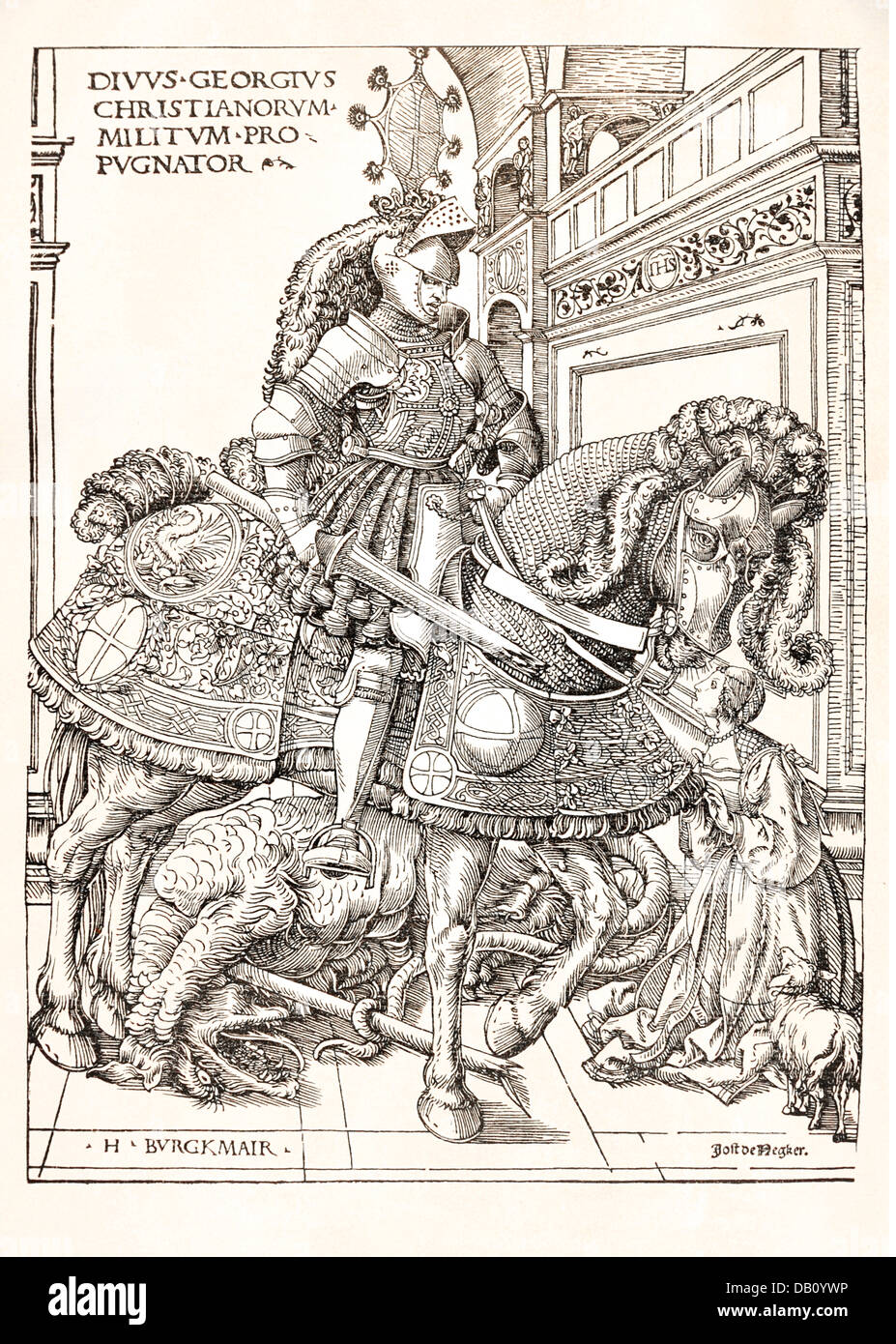 religion, christianity, saints, Saint George, half length, on horse, woodcut, by Hans Burgkmair (1473 - 1531), circa Stock Photo