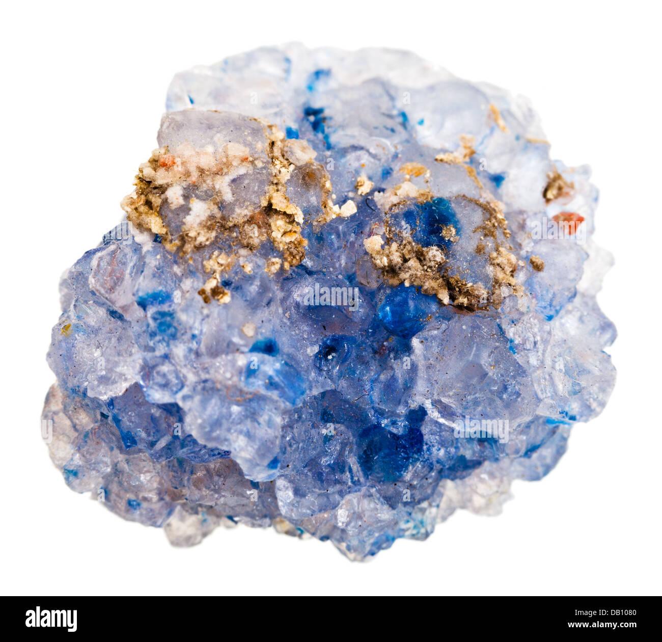 crystals of Celestine (celestite) isolated on white background Stock Photo