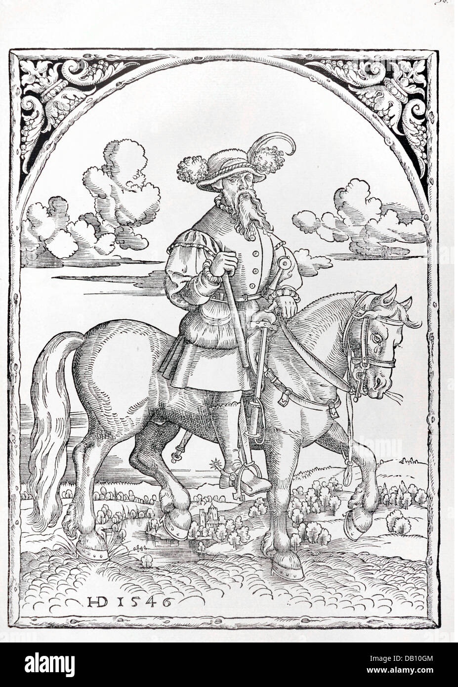 military, lansquenets, carriage master, full length, on horse, woodcut, by H.D., 1546, from: Warriors of his Roman - Stock Image
