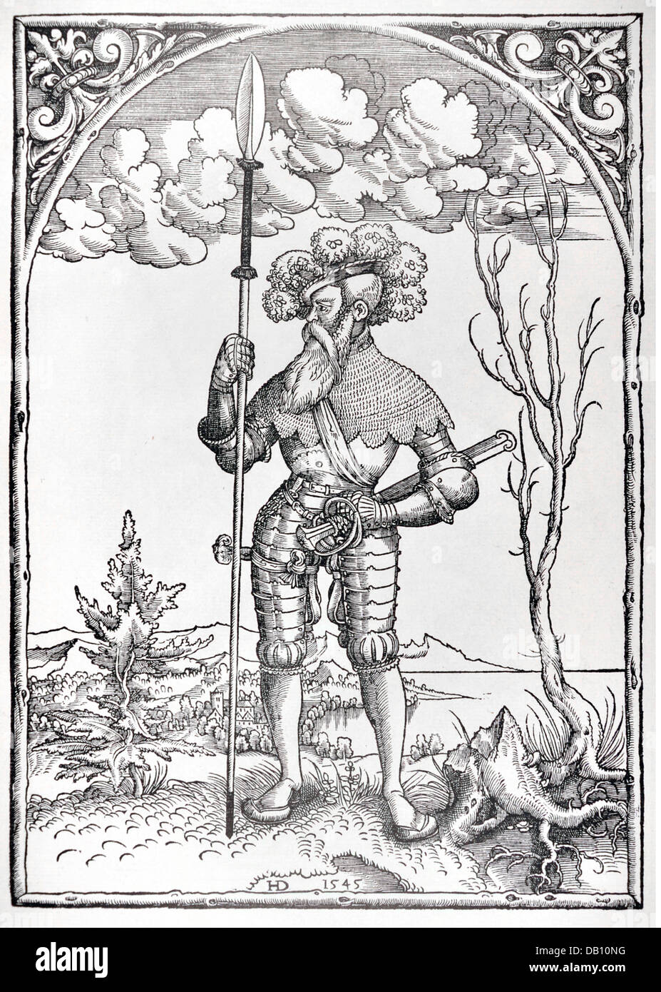 military, lansquenets, lansquenet captain, full length, standing, woodcut, by H.D., 1545, from: Warriors of his Stock Photo