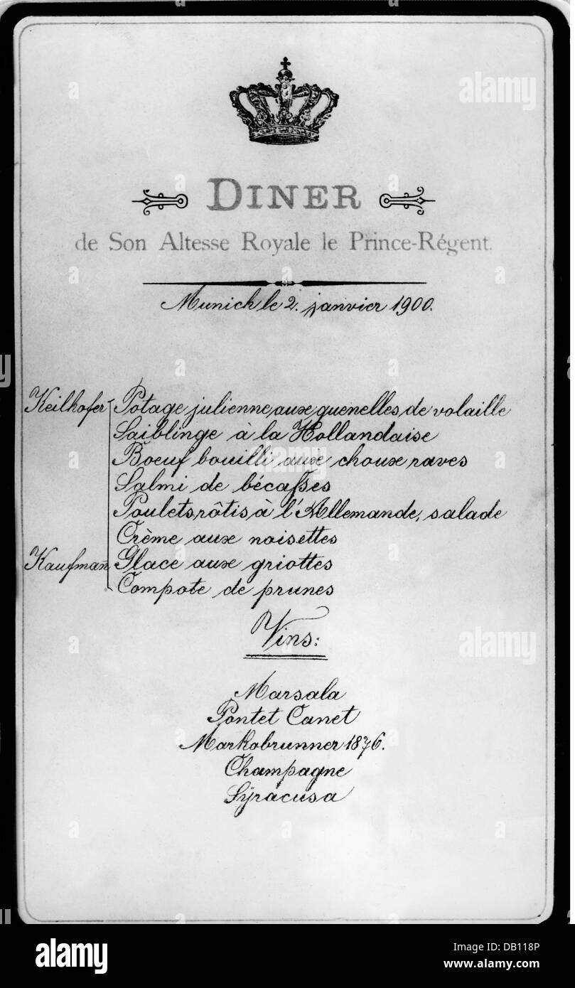 gastronomy menu formal dinner of the bavarian prince regent stock
