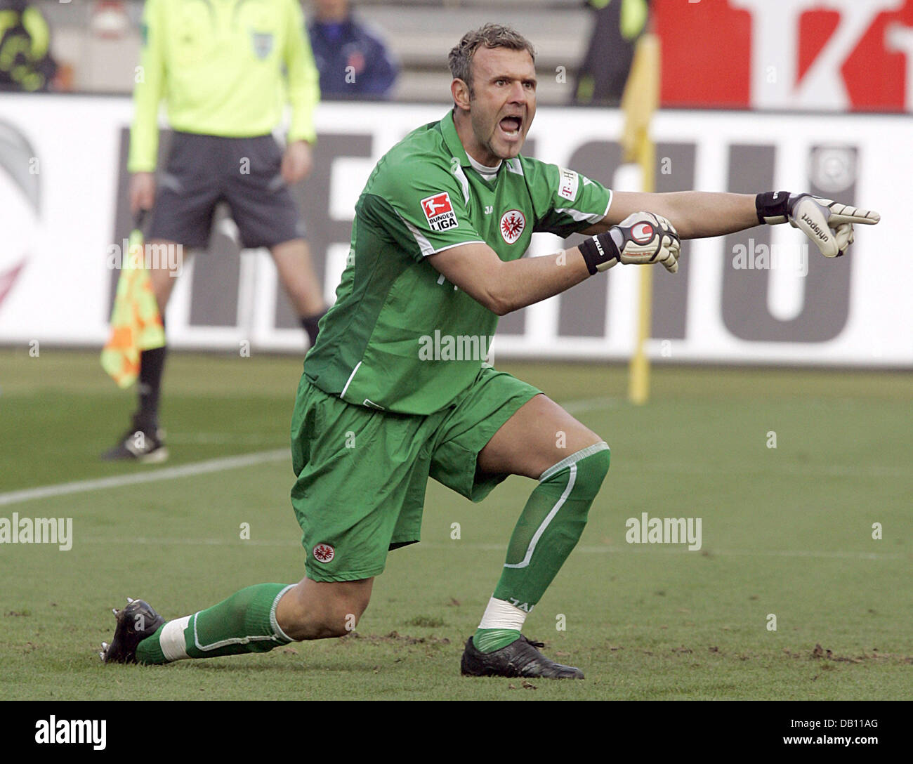 Frankfurt goalie Markus Proell gestures during the Bundesliga match 1.FC Nuremberg v Eintracht Frankfurt at easyCredit Stock Photo