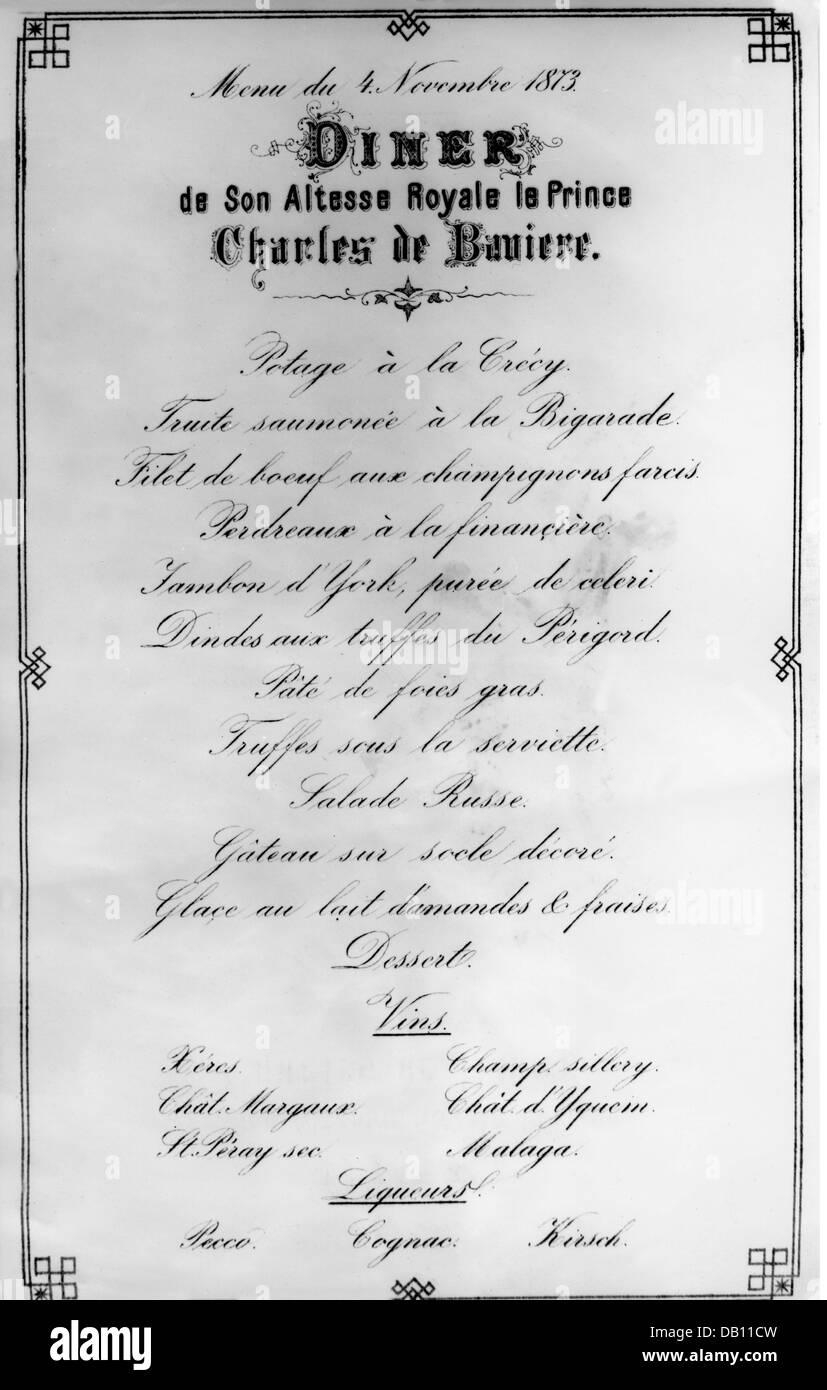gastronomy menu formal dinner of prince karl of bavaria 4 11 1873