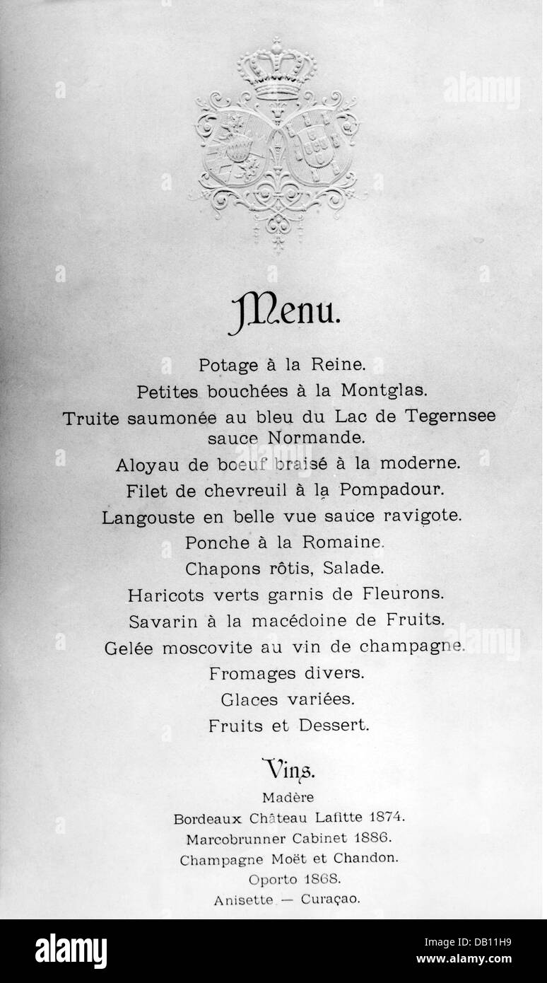 gastronomy menu order of courses of a formal dinner at the