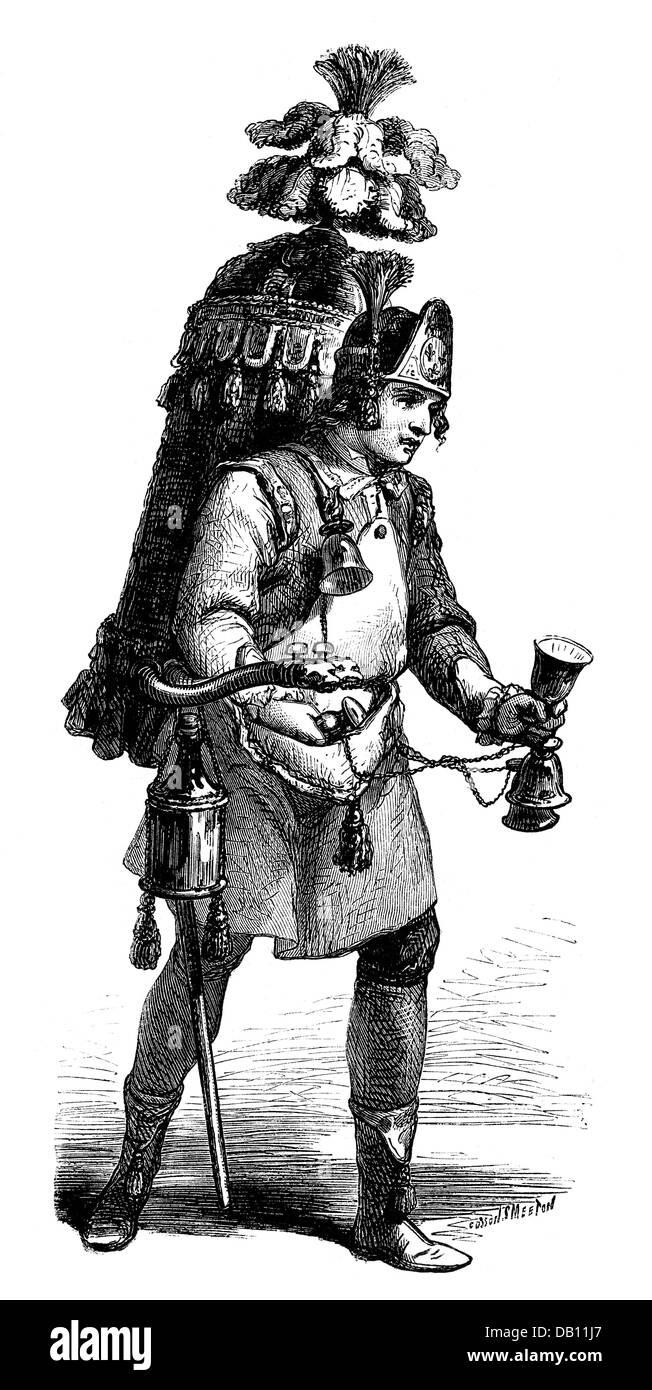 trade, merchants, vendor of cocoa, after Jean-Baptiste Poisson, 'Les Cris de Paris', 1774, wood engraving, - Stock Image