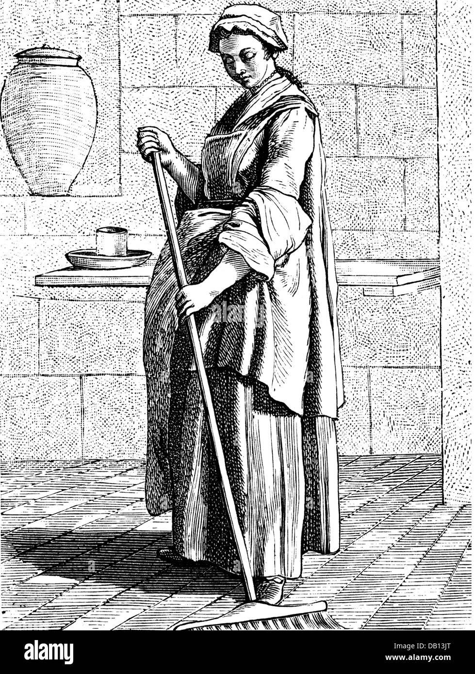 people, profession, cleaning lady full length, copper engraving, by Edme Bouchardon (1698 - 1762), from the series - Stock Image