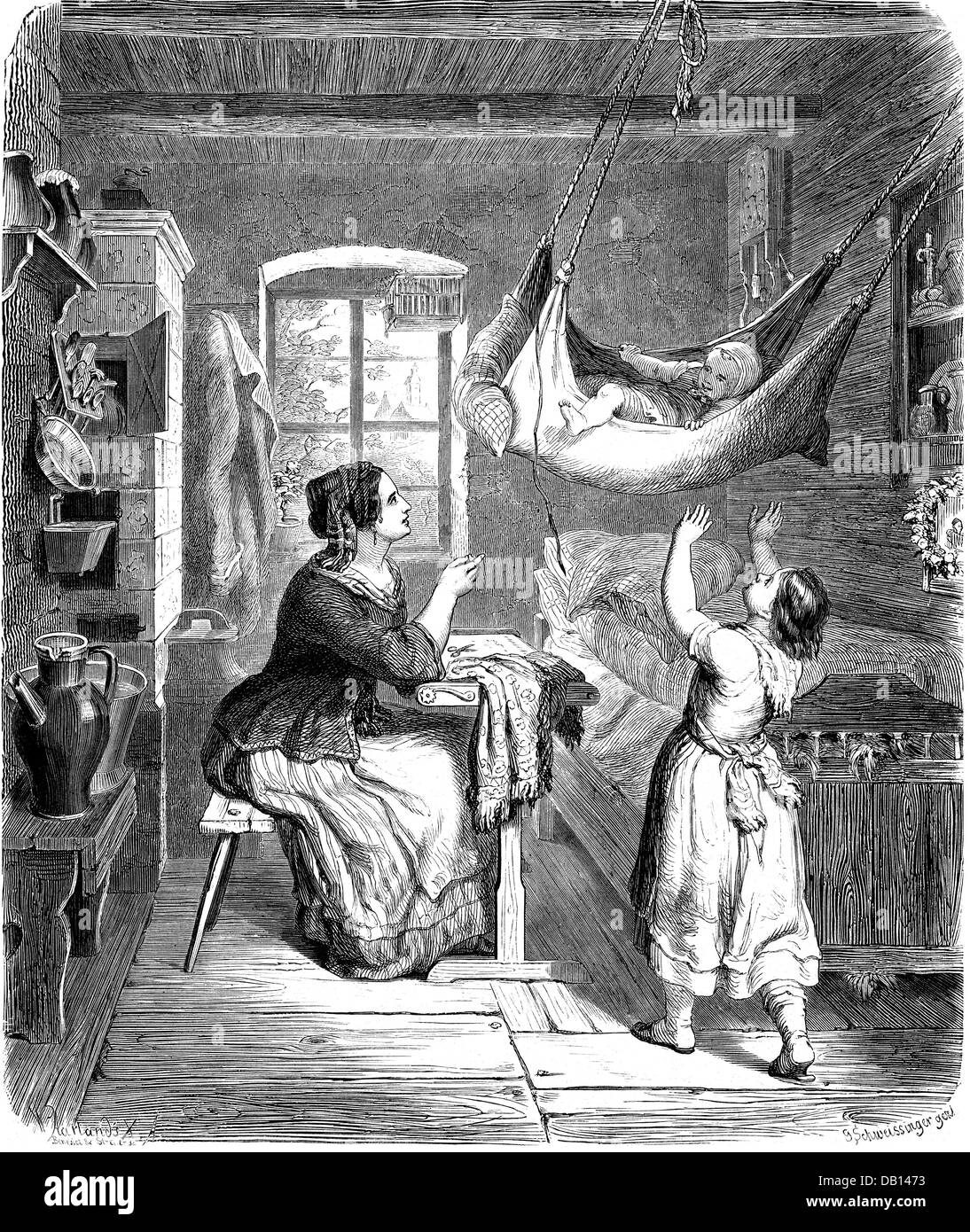 household, needlework, woman from the Vogtland doing embroidery, after drawing, by Georg Karl Schweissinger (* 1822), - Stock Image