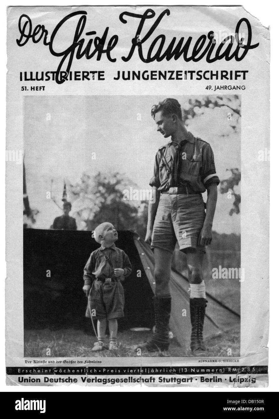 press / media, journals, 'Der Gute Kamerad', 19th volume, number 51, Stuttgart, 1935, cover, 'The smallest - Stock Image