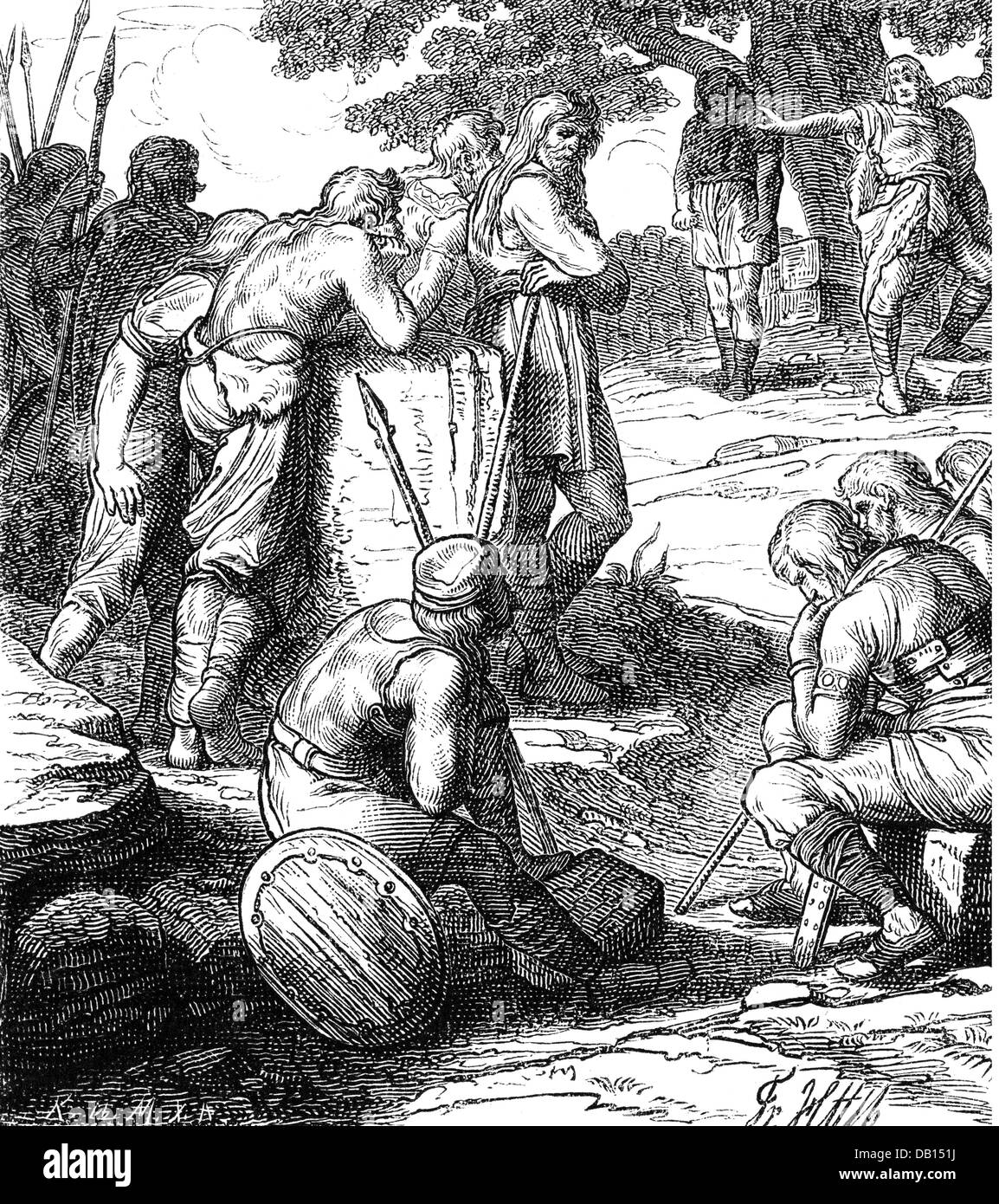 ancient world, Germanics, justice, accusation of a group of hundred before the people's meeting, wood engraving, - Stock Image