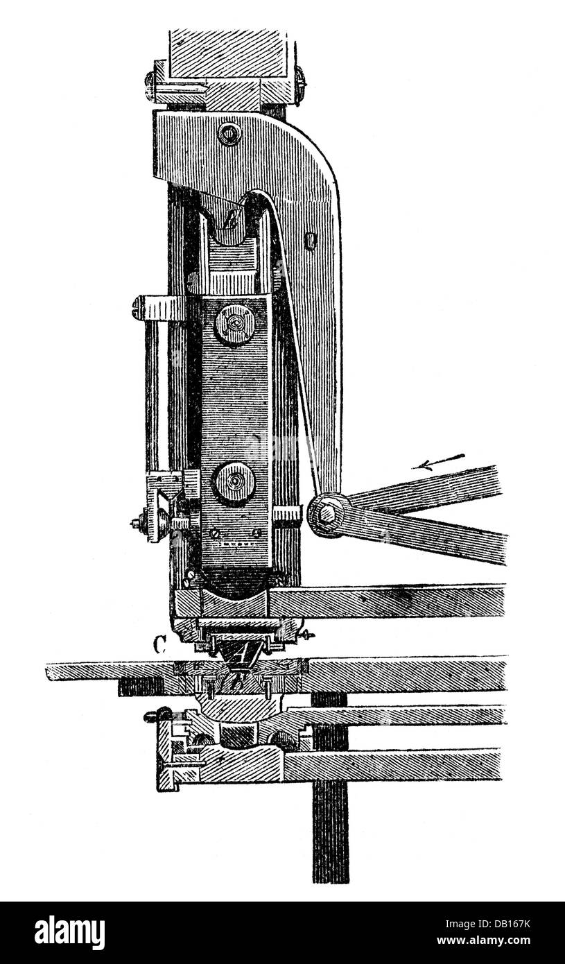 money / finances, mintage, punch and penstock of a knuckle joint press, from: book of inventions, trades and industries, - Stock Image